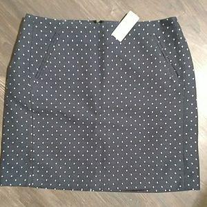 Navy and white polka dot Ann Taylor mini skirt